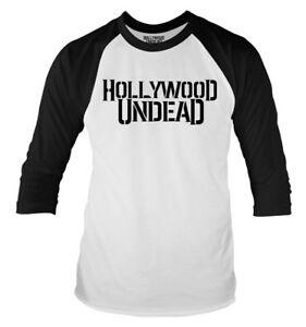 Hollywood-Undead-039-Logo-039-3-4-laenge-Armel-Raglan-Baseballhemd-NEU-UND-OFFIZIELL