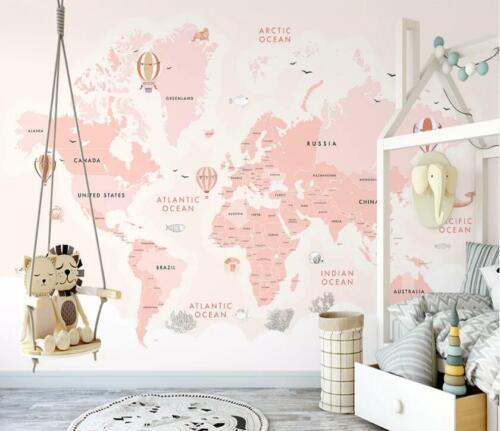 3D Rose carte du monde N457 Papier Peint Mural Amovible Auto-adhésif Sticker Amy