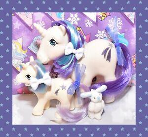 My-Little-Pony-MLP-G1-Vtg-MOMMY-amp-BABY-GLORY-Unicorn-Shooting-Star-Pony-Set