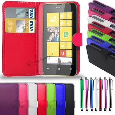 Nokia Lumia 535  - Leather Wallet Case + Big Stylus Pen & Screen Protector