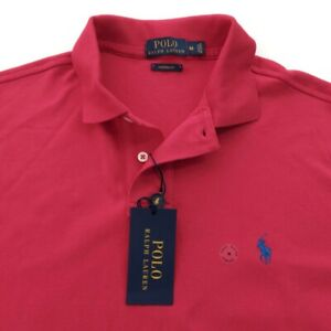 NWT-Polo-Ralph-Lauren-Mens-Polo-Shirt-Size-M-Short-Sleeve-Red-Cotton
