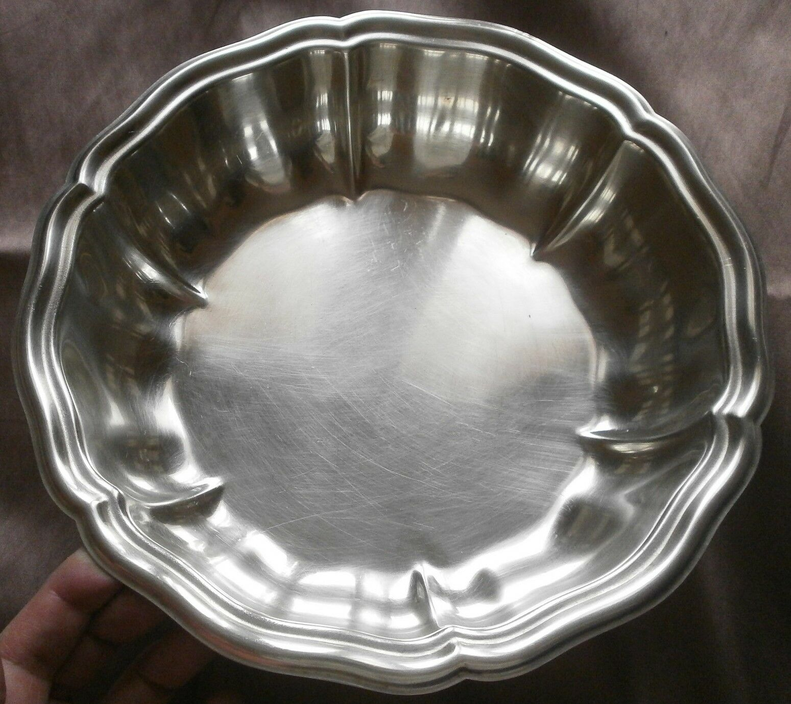 Jatte en métal argenté modèle chantourné polylobé - Orfèvre MF - Argenture 24 Gr