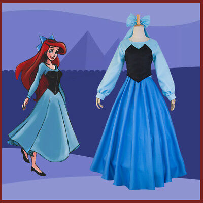 Women The Little Mermaid Princess Adult Ariel Cosplay Costume Blue Outfits Dress