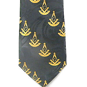 Black and Gray Polyester long tie with large diagonal pattern Masonic Neck Tie