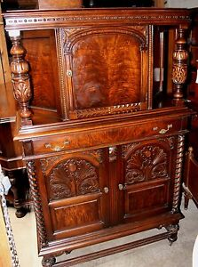 Antique Jacobean Buffet With Blind Door China Hutch