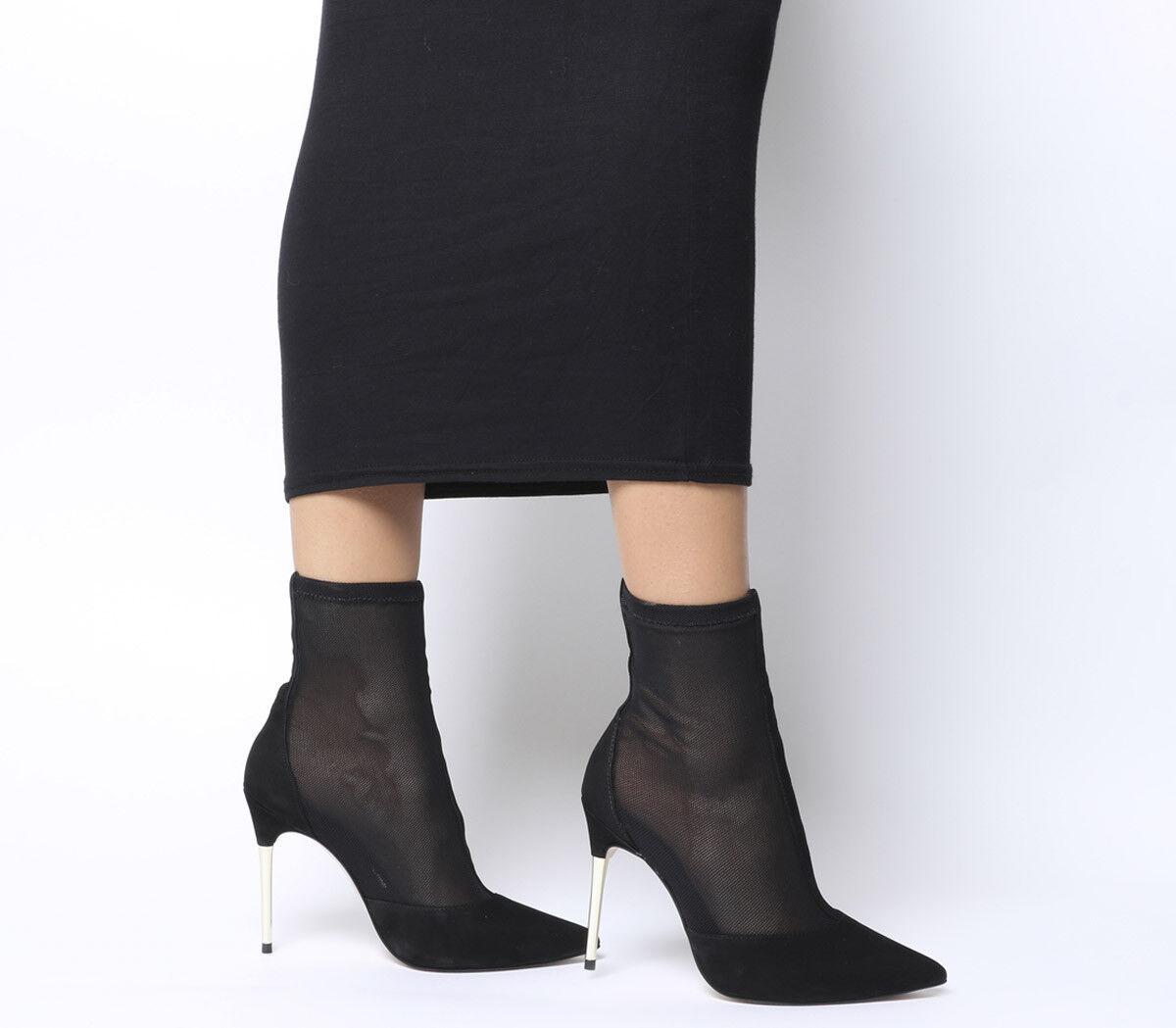 Femme Bureau feu Métal Talon Chaussettes Bottes en Résille Noire Bottes
