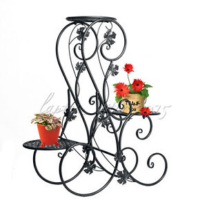 f991e44c2fd4 3 Tier Black Floor-Standing Wrought Iron Pot Plant Stand Flower ...