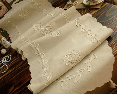 """RIBBON Natural Cotton Scallop Table Runner Farmhouse Country Flowers 72"""" Long"""