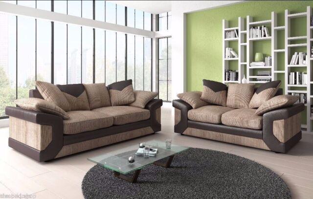 Large Dino Jumbo Cord Brown Mocha Corner Footstool Or 3 2 Seater Sofa L Shape