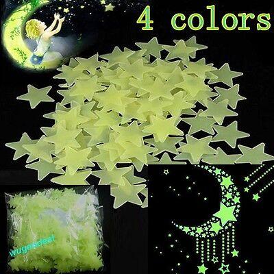 100PCS Home Wall Glow In The Dark Stars Stickers Decal Baby Nursery Room Treedy