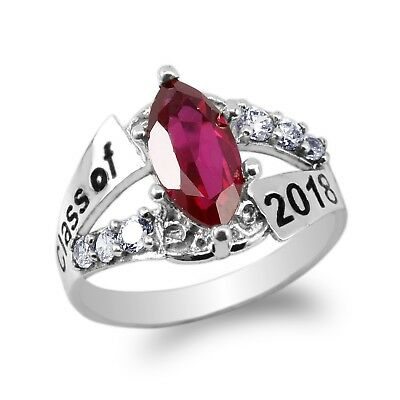 JamesJenny White Gold Plated 2016 Graduation Ring Marquise Ruby CZ Size 4-9