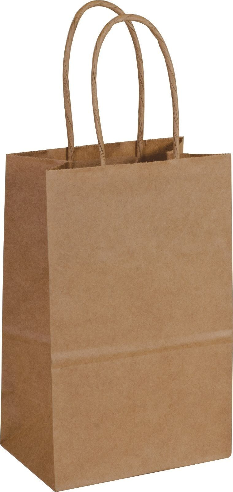 Case of 250 Kraft Paper Bags Shoppers Mini Cub 14-8 5 1 4x3 1 2x8 1 4
