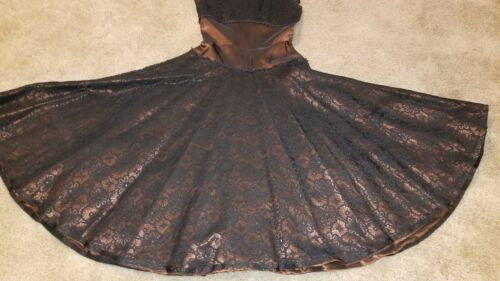 Vintage 1950s Bronze Black Spiderweb Lace and Taff