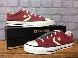 CONVERSE-UK-6-EU-39-BURGUNDY-SUEDE-STAR-PLAYER-OX-TRAINERS-MENS-YOUTH