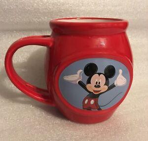 Disney-Mickey-Mouse-3-D-Coffee-Mug-Cup-Red-Barrel-Shape-Spoon-Holder-Handle-2013