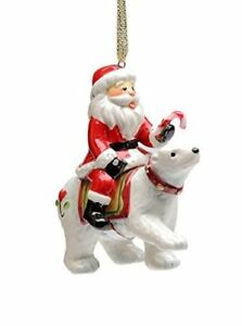 4f6f59d44fe Details about Santa Claus Polar Bear Christmas Ornament Candy Cane Gold  Ribbon Ceramic New