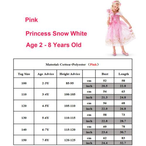 Disney Princess Belle Rapunzel Dress Up Girls Kids Party Fancy Costume Cosplay