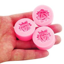 3x Small Rose Flower Silicone Mold for Fondant, Gum Paste, Chocolate, Cake Decor