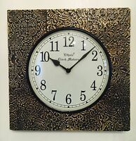 Indian Antique Style Craft Wooden Wall Clock Gift Decor Ethnic Clocks Brass Work