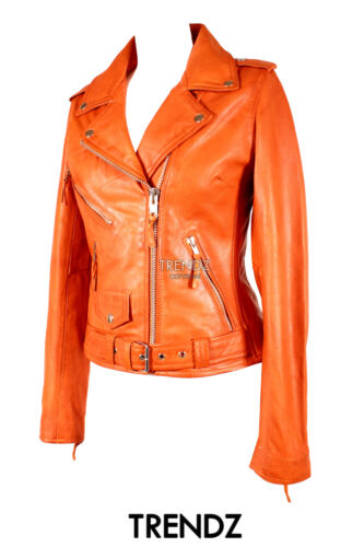 Orange New Brando Jacket Classic Cowhide Real Fashion Leather Biker Ladies Style q7g5wFdng