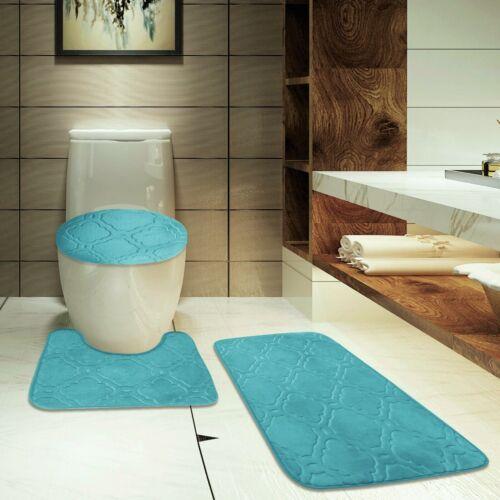 Modern Chic 3PC Set Quatrefoil Design  Bathroom Countour Mat Bath Rug Lid Cover