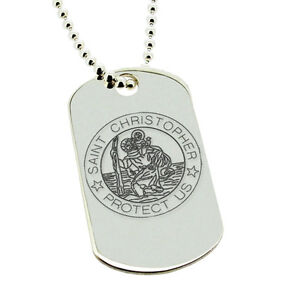 925 sterling silver st christopher dog tag pendant necklace image is loading 925 sterling silver st christopher dog tag pendant aloadofball Choice Image