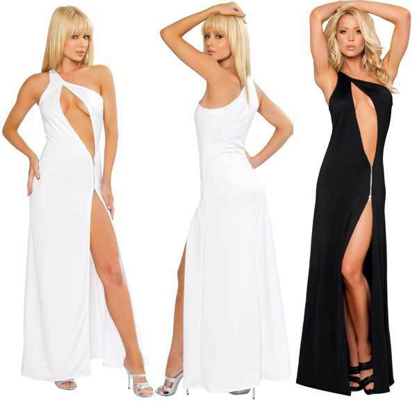 SEXY WHITE CUT OUT ZIPPER ONE SHOULDER GOWN - SM MED