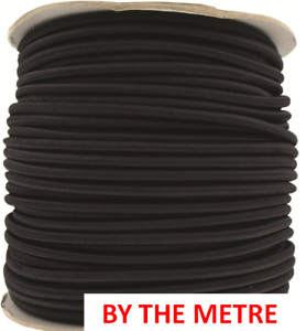 By The Metre 8 mm round elastic bungee Shock Cord Black