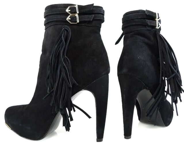 a1c3393d29e5 Sam Edelman Keegan Fringe Belted Straps Black Suede BOOTS Women s Shoes 6.5
