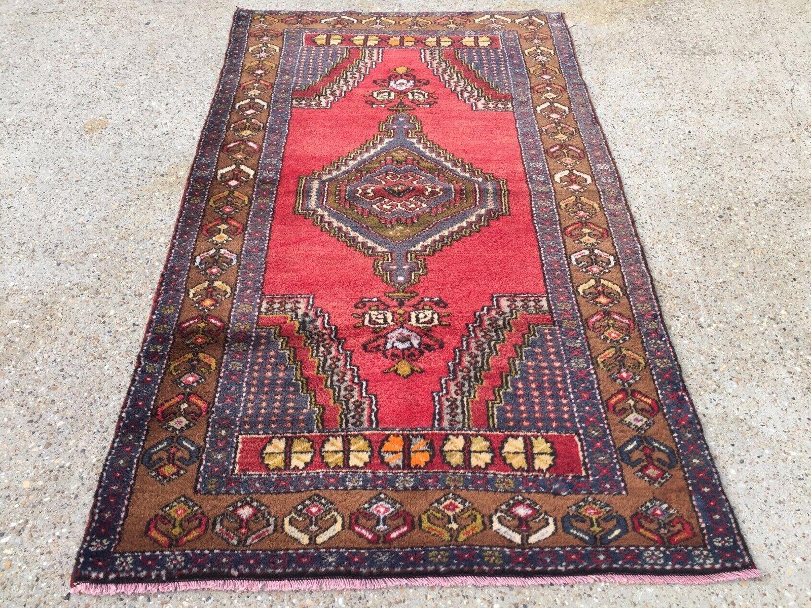 Turco Vintage Alfombra de Oración tinte vegetal 195x112cm persa afgano tribal