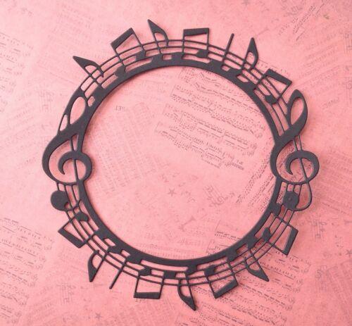 Pack Of 5 Black Music Circle Frame Die Cuts