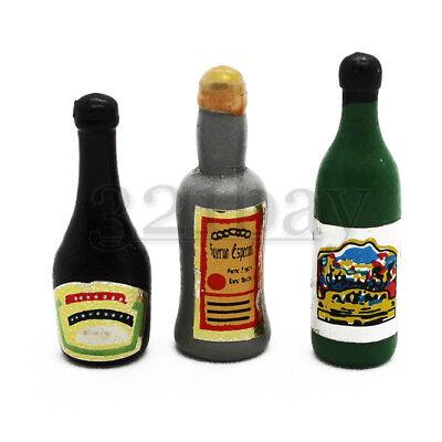 Küche Mini Drink Weinsaft Grüne Flaschen für Puppenhaus im Maßstab 1:12