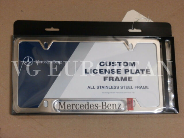 2 Mercedes-Benz Genuine Polished Stainless Steel License Plate Frame ...