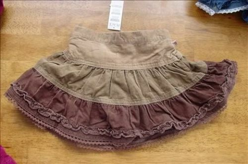 The Children/'s Place Girls Tiered Cord Skirt Skort 18m Brown Pippi Style NWT New