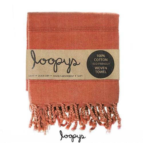Loopys Terracotta Rust colour premium Stone wash Turkish Beach Bath Towel