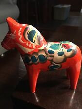 Nils Olsson Orange Handpainted Swedish Dala Horse Folk Art S-79204 with Sticker