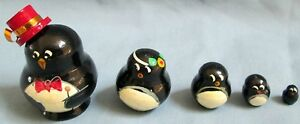 Penguins w. Hat Russian Traditional Nesting Doll/Hand Made-Micro size!!5-pcs Set
