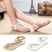 New Womens Ladies Flat Open Toe Summer Beach Flower Sandals Elastic Strappy Size