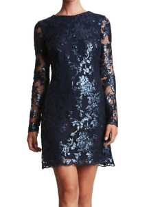 DRESS THE POPULATION damen Blau 'GRACE' SEQUIN LACE SHIFT DRESS Größe M