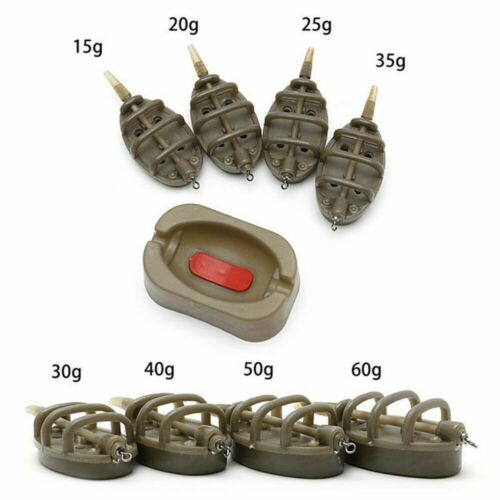 Outdoor Carp Inline Flat Method Feeder Mould Set 4 /& 1 Fishing Tackle Parts