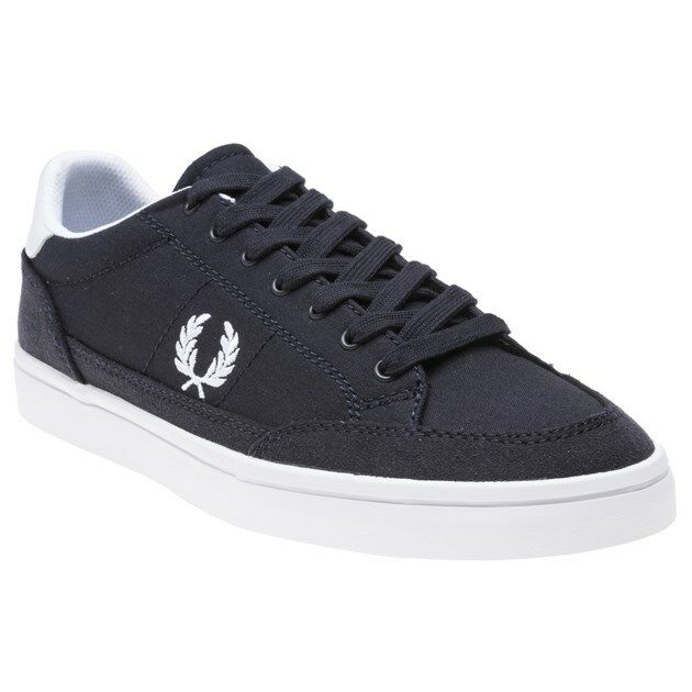 New MENS FRED PERRY NAVY DEUCE CANVAS Sneakers PLIMSOLLS
