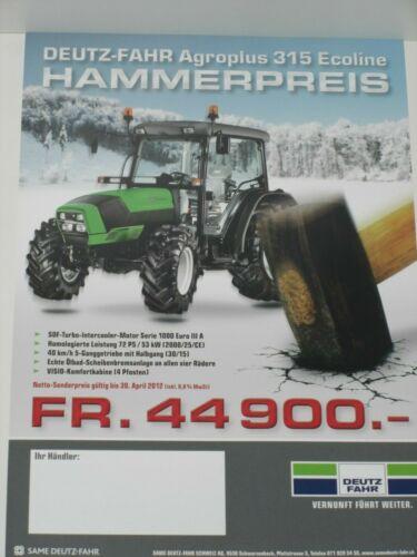 DEUTZ-FAHR Agroplus 315 Ecoline Traktoren Prospekt 2872