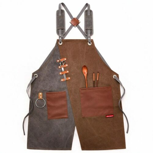 Waxed Canvas Work Apron With Pockets Heavy Duty Woodwork Painting Apron Unisex