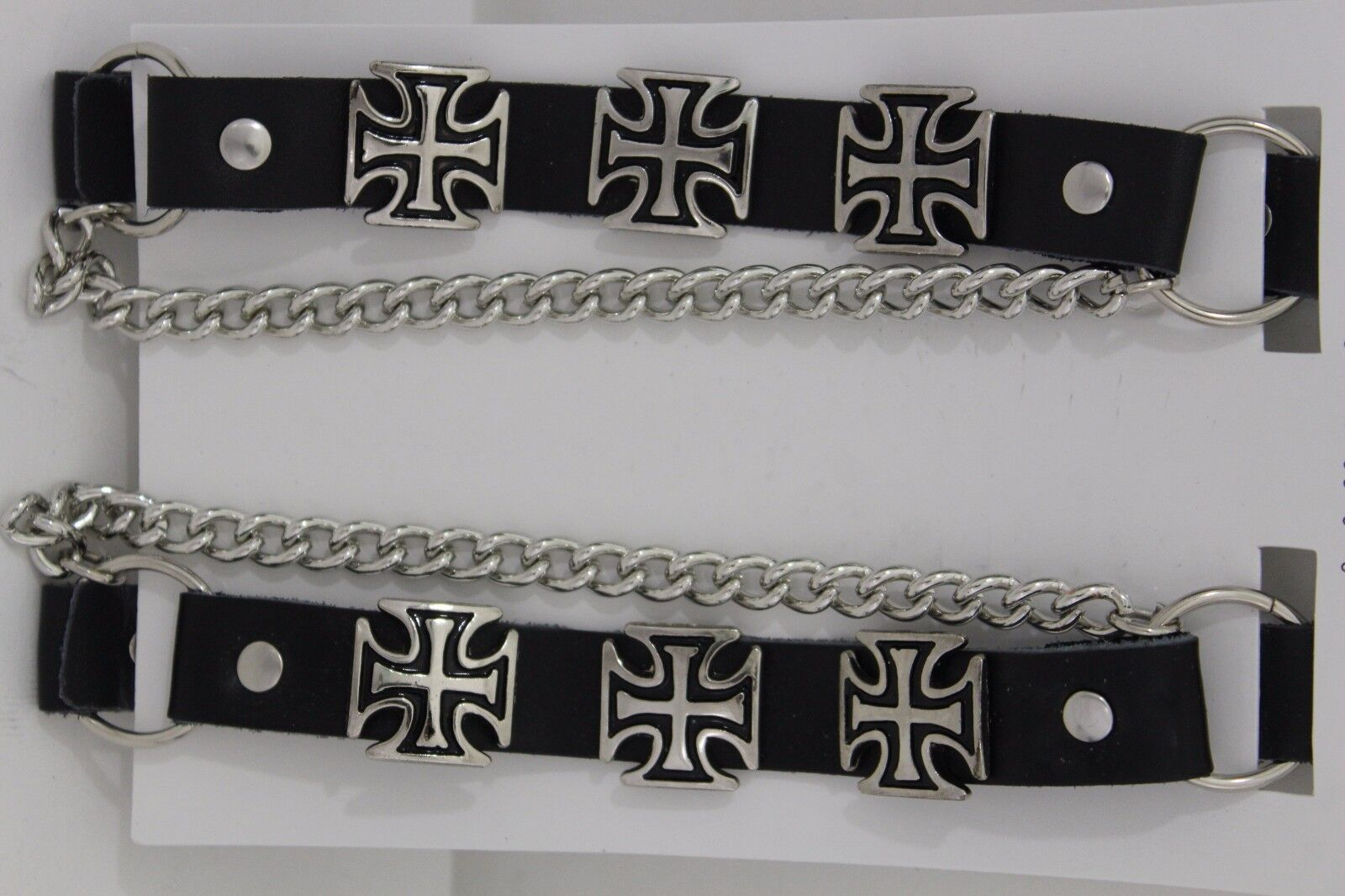New Men Women Western Boot Silver Chains Pair Leather Straps Bracelet Iron Cross
