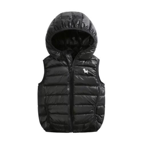 Baby Boy Girl Kids  Vest Outwear Winter Warm Hooded Waistcoat Padded Coat Jacket