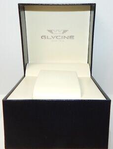 BRAND-NEW-GLYCINE-BLACK-WATCH-BOX-CASE-W-PILLOW-3-7-8-x-3-7-8-x-3-1-8