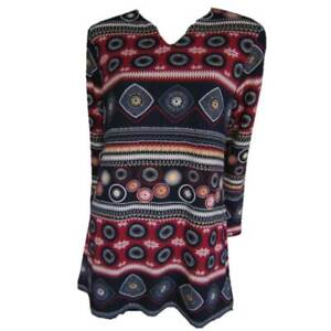 Tunic-Tops-Plus-Size-10-12-14-16-18-20-EVERSUN-Red-Black-Dress-Aztec-Floral
