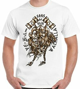 Mens White King Ragnar Lodbrok T Shirt Norse Warrior Vikings TV Series T-Shirt