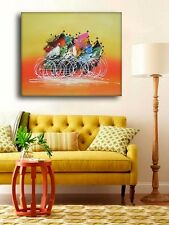 HUGE BICYCLE RACE MODERN CANVAS WALL ART ABSTRACT OIL PAINTING HAND PAINTED