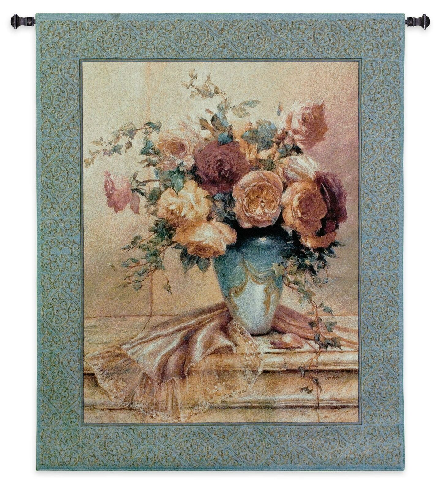 Jennie I  North American Made Woven Floral Tapestry Wand Hanging